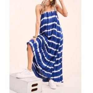 Flowy navy blue tie dye maxi dress